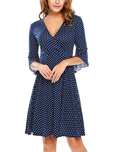 Beyove Damen Polka Dots Wickelkleider V- Ausschnitt Jersey Kleid Wickeloptik Partykleider Marine Blau Größe XL