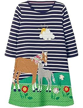 Mooler Mädchen Crewneck Langarm Kleid Sommer Drucken Baumwolle Cartoon T-Shirt Kleid 1-7 Jahr