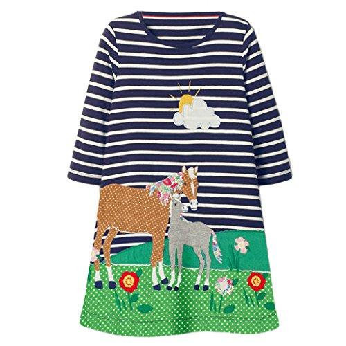 Mooler kleine Mädchen mit Rundhalsausschnitt lange Ärmel Kleider gestreifte Pferd Applique A-Linie Kleid , Marine , 18-24 Monate (Ärmeln Bestickt Langen T-shirt)