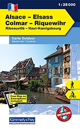 K&F Elsass / Vogesen Outdoorkarte 01 Elsass - Colmar - Riquewihr 1 : 35 000 (Kümmerly+Frey Outdoorkarten Frankreich)