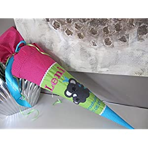 Koala Koalabär pink-grün-Türkis Schultüte Stoff + Papprohling + als Kissen verwendbar
