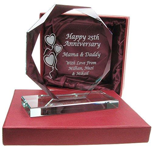 25th Wedding Anniversary Gift Engraved Presentation Cut Glass Gift