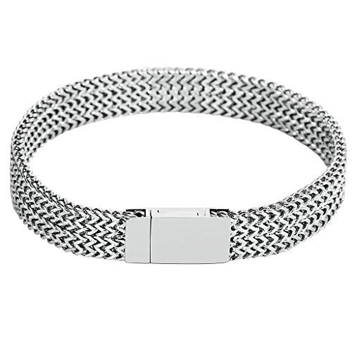 Adisaer Armband Edelstahl Herren Silber Weizen Chian Form Armbänder Für Männer Armreif (Gangster Plus Kostüme)
