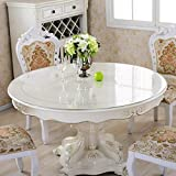 Table ronde Nappe Waterproof PVC Scrub Soft Verre Transparent Table de salle à manger Crystal Plate Hôtel Table Table en...