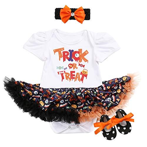 1. Halloween Kostüm Kürbis Schädel Strampler Rüschen Tutu Rock mit Stirnband Schuhe Weihnachten Allerheiligen Cosplay Partei Kleid für Neugeborene Kleinkind 3-18 Monate ()