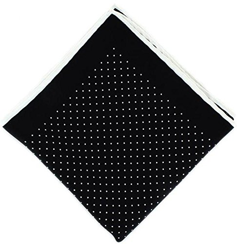 Michelsons of London Noir/Blanc Pin Dot avec mouchoir Border Soie de