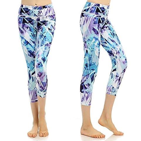 phennie Damen Training Capris Hosen bedruckt Active Yoga Running Leggings Stretch Tights xl Eisberg-Blau