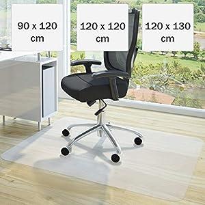 Bodenschutzmatte 120x120cm - wahlweise in Grössen 90x120cm, 120x120cm oder 120x130cm, Farbe weiß transparent für Laminat, Parkett, Fliesen und Hartböden - Bodenmatte, Bodenschutz, Bürostuhlunterlage