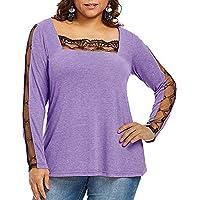 Longra ☂☂ ☂☂❤️❤️ Las Mujeres del Panel de Encaje Informal Cuello Cuadrado Camiseta Tops Blusa sólida más tamaño