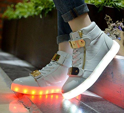 X-MOKE Unisexe Homme Femme 7 Couleur USB Charge Lumière Lumineux Clignotants Chaussures de marche Chaussures de Sports LED Baskets 37