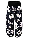 BaiShengGT Damen Pumphose Haremshose Blumenmuster Lange Hose Blau-Kamelie #2 XL
