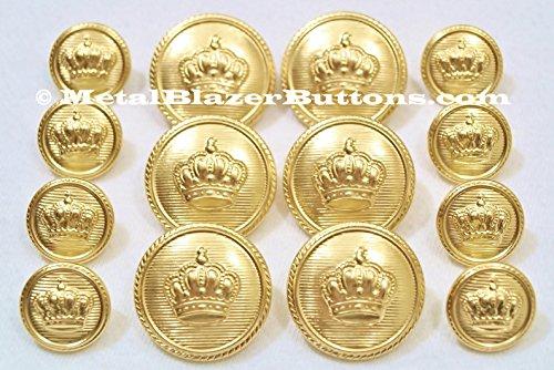 Neue, goldfarben, vergoldet, Metall-Knopf-Set Blazer, 14-teiliges Metall-Knopf Set für eine Man's Doppelknopfleiste, Blazer, Sport, Jacke oder einheitliche METALBLAZERBUTTONS.CO.UK ~ (Breasted Double-taste Single)