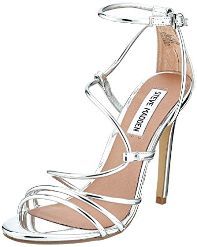 Steve Madden Womens Open Toe Heels (Steve Madden Damen Smith Sandal Riemchenpumps, Silber (Silver), 39 EU)