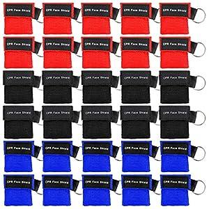 Homealexa Beatmungsmaske, CPR Maske Schlüsselanhänger 30 Stücke Beatmungstuch mit Rückschlagventil Atmen Barriere – 10 Schwarz + 10 Rot + 10 Blau