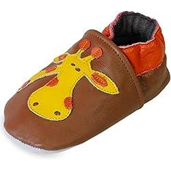 PantOUF Zapatillas Pantuflas de Cuero-Niño/Niña- Suela Antideslizante en Gamuza y Caucho-Marrón con una jirafa-3-4 años