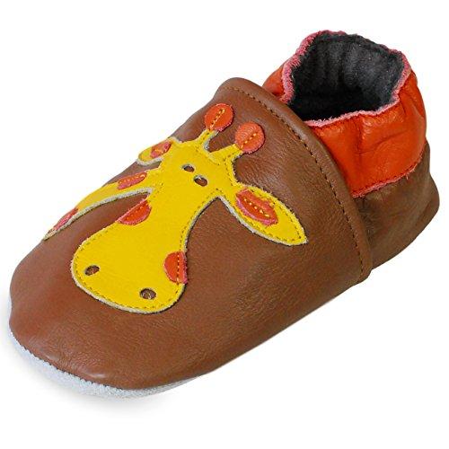 PantOUF Weiches Leder Babyschuhe und Kleinkind schuhe, Krabbelschuhe Braun mit einer Giraffe