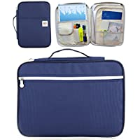 Uniuooi A4 Documents Bag Case Multi-Functional Folder Travel Passport Holder Portfolio Pouch Portable Bag Organizer for Notebooks, iPad, Pens, Cellphone, Documents (Navy)