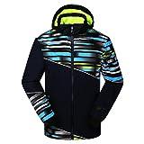 Phibee Hombres impermeable al aire libre chaqueta de esquí Snowboard Fleece Azul1 XXL