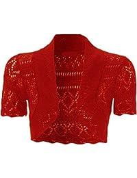 Barakah - Boléro Gilet Court Femmes Froncé Manche Courte Crochet Tricot Ouvert Grande Taille