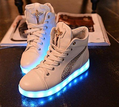 (Present:kleines Handtuch)JUNGLEST Damen Hohe Sneaker Weiß USB Aufladen LED Leuchtend Fasching Partyschuhe Sportsc Weiß mit Strass