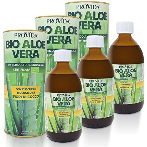Optima Provida Succo di Aloe Vera Bio con fiori di cocco 3 x 500 ml