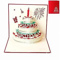 Idea Regalo - Biglietti augurali Compleanno,Deesos regalo di compleanno per i tuoi parenti, amici e amanti speciali, biglietto di auguri pop-up 3D con bellissimi ritagli di carta, busta inclusa (buon compleanno)