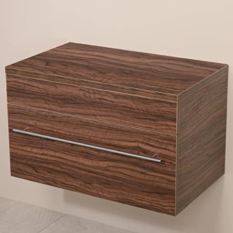 750 Vanity Unit for Bathroom Ensuite Cloakroom - Wall Mounted Soft Closing Modern Walnut Design - Wall Hung Deep Fill Storage Drawer (Dimensions ** Furniture Cabinet - Height: 460mm, Width: 750mm, Projection: 460mm)