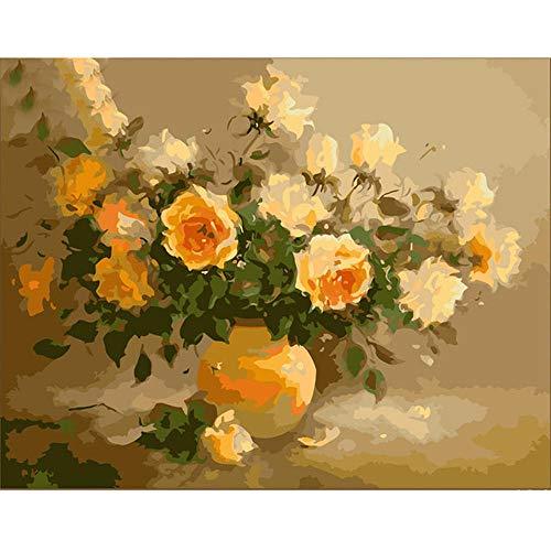 RTDHU Malen Nach Zahlen Rahmenlose Bilder Malen Nach Zahlen DIY Digitales Ölgemälde Auf Leinwand Romantische 40X50 cm Duftenden Blumen Dekoration -
