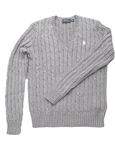 Polo Ralph Lauren Cable Knit V-Neck Cotton Pullover Kimberly M Grau (V-neck Knit Sweater Cable)