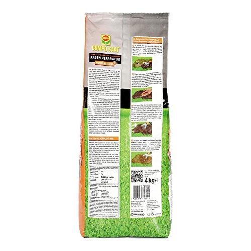 COMPO SAAT Rasen Reparatur Komplett-Mix+, Rasensaat, Keimsubstrat,Langzeit-Rasendünger und Bodenaktivator, 4 kg, 20 m²