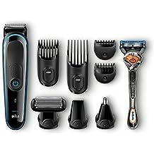 Braun MGK3080 - Set de afeitado multifunción con recortadora de precisión para estilismo de barba y cabello 9 en 1, color negro y azul y maquinilla Gillette Fusion ProGlide
