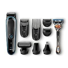 Idea Regalo - Braun MultiGrooming Kit MGK3080 Rifinitore di Precisione Regolabarba 9 in 1 per lo Styling di Barba, Corpo e Capelli, Nero/Blu