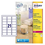 Avery Kristallklare Etiketten für Laserdrucker langlebig 21 pro Blatt 63,5 x 38,1 mm 525 Stück transparent