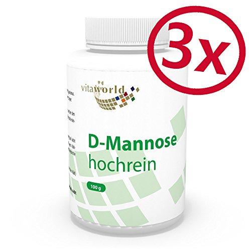 3er Pack Vita World D-Mannose pur 3 x 100g Apotheken Herstellung 100% Reinheit mit Analysezertifikat