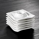 """Malacasa, Série Amparo, 6pcs Coquetier Porcelaine Support Oeufs 4.5""""/11.5*11.5*2.5cm Service de Table Petit Déjeuner"""