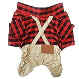 Britische Rote Plaid Grid Overalls Anzug Hose kleine Hunde/Welpen Kilt Kleidung Kostüm S-XL