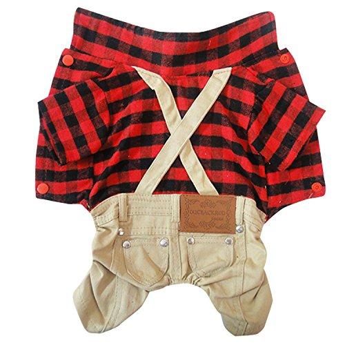 (Britische Rote Plaid Grid Overalls Anzug Hose kleine Hunde/Welpen Kilt Kleidung Kostüm S-XL)