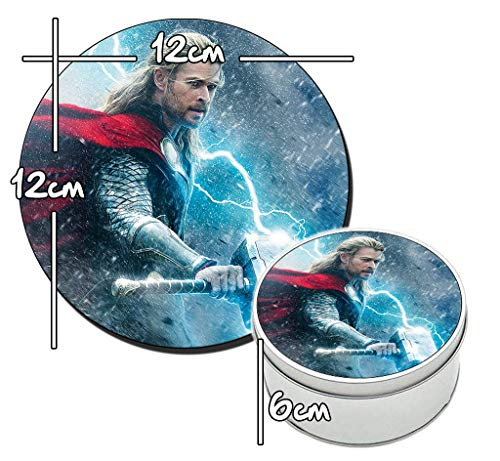 MasTazas Thor EL Mundo Oscuro The Dark World Chris Hemsworth B Runde Metalldose aus Zinn Round Metal Tin Box (Hemsworth B)