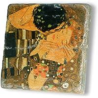 MANI REGALO - Prezioso Marmo Giallo Reale - cm. 10x10x1,2 - Gustav Klimt - IL BACIO - Oggetto d'Arte - Oggetto decorativo - Oggetto di Designer - Alta Qualità - Regalo originale e pezzo unico - Made in Italy.