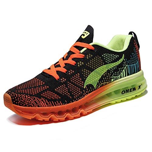 Onemix Hommes Mode Bulle D'air Sport En Marchant Chaussures Poids Léger Formateurs Chaussures de Course Noir Fluorescent vert Orange