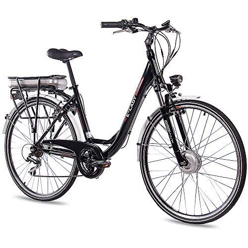 CHRISSON 28 Zoll E-Bike Trekking und City Bike für Damen - E-Lady schwarz mit 7 Gang Acera Kettenschaltung - Pedelec Damen mit Bafang Vorderradmotor 250W, 36V