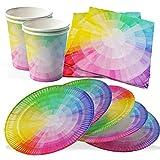 Vajilla Fiesta del Arco Iris, juego de 15 - Platos Desechables de Papel para Fiestas, Perfecto para Cumpleaños para Niños, Decoraciones de Vajilla -15 platos, 15 tazas, 30 servilletas, 1 mantel grande (61pcs)