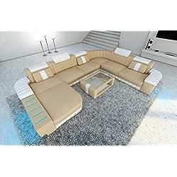 Conjunto de Muebles Para Salón BELLAGIO XXL con iluminación LED Beis Arena - Blanco