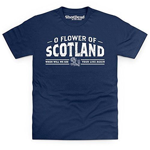 Flower Of Scotland T-Shirt, Herren Dunkelblau