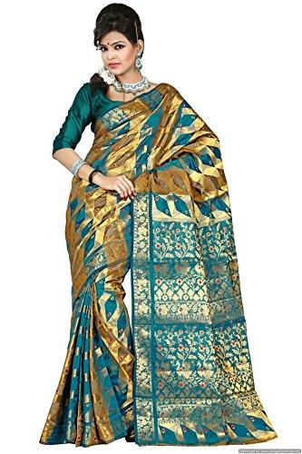Mimosa Women Kanchipuram Art Silk Saree with Blouse (3004-61-Saff, Blue)