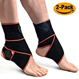 1 Pair Ankle Brace,Oxyland Adjustable Ankle Support Super Elastic and Comfortable Compression Ideal