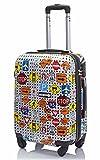 Trolley da cabina 55 cm valigia rigida 4 ruote in abs policarbonato stampato a fantasia compatibile voli lowcost come Easyjet Rayanair fantasia segnali stradali (Small)