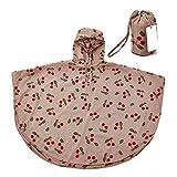 Unisex Bambini Slim Mantello Impermeabile Giacca Antipioggia Poncho Con Cappuccio Mantella Pioggia Rosa ciliegia/S