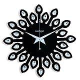 #6: Random Clocks Jewel Leaf Round Wood Wall Clock (30 cm x 30 cm x 5 cm, Black, RC-0709 Black)