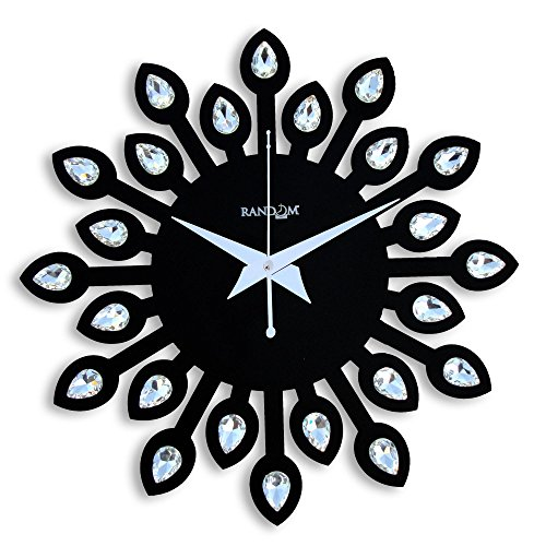 Random Clocks Jewel Leaf Round Wood Wall Clock (30 cm x 30...